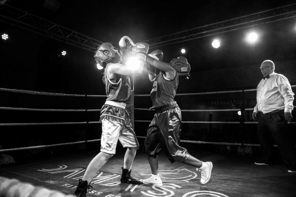 Female boxers fighting